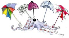 octopus with umbrellas