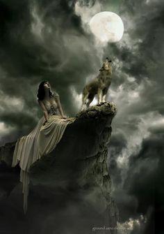 woman wolf moon