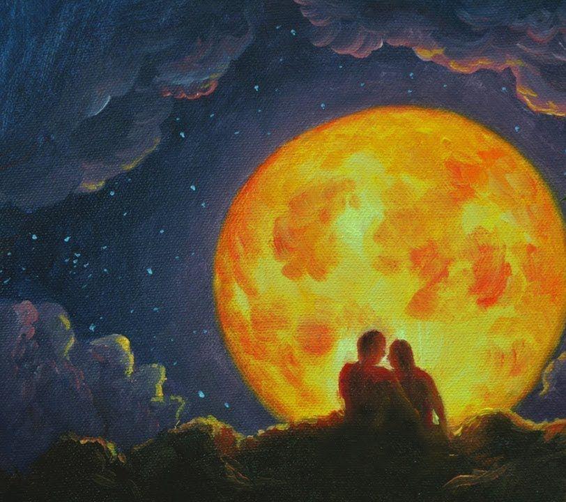 couple moon silhouette