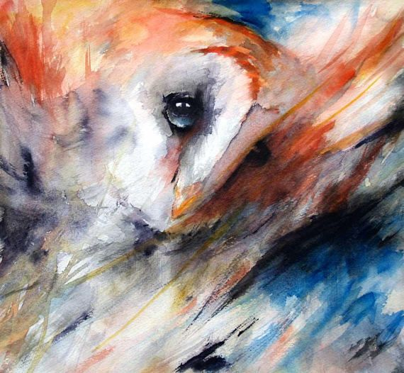 night owl watercolor