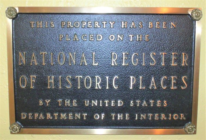resized plaque on registry of historical places by dept of interior 060221