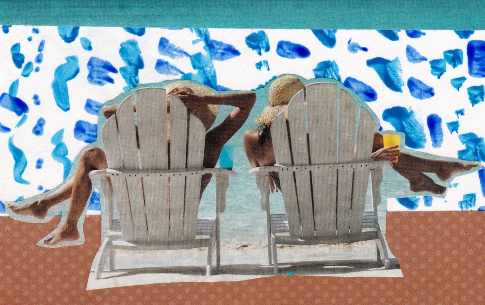 blue 2 women at beach