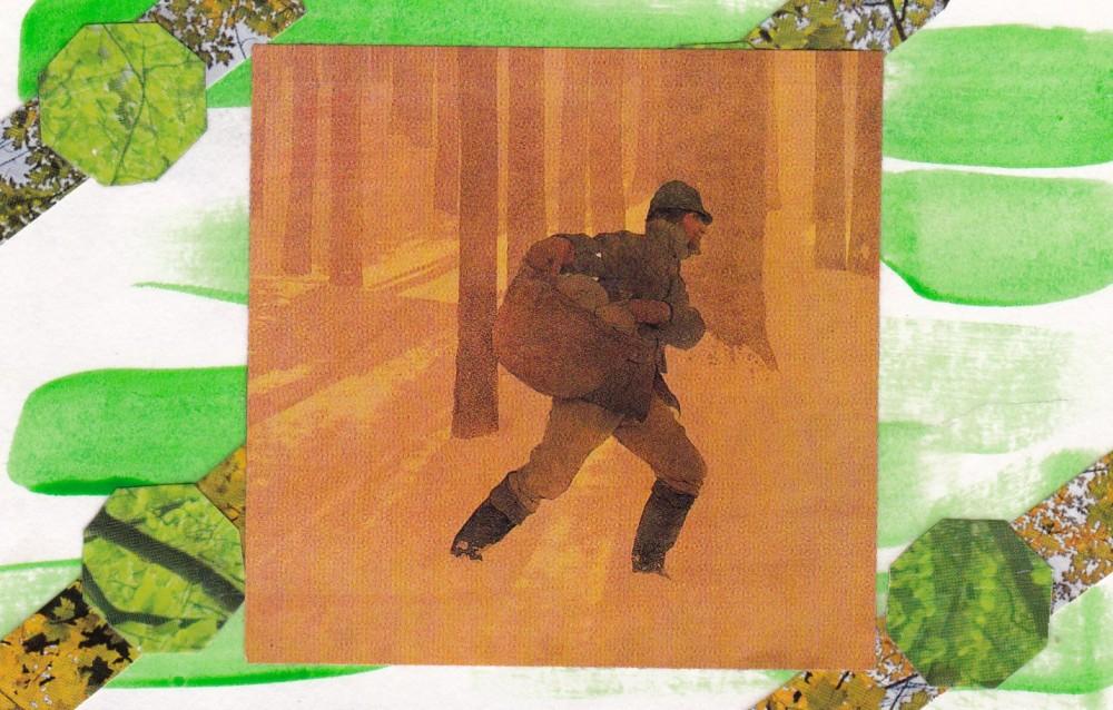 green man trudge through woods