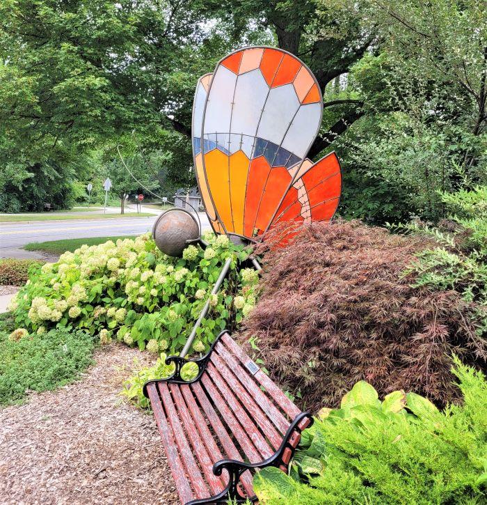 resized butterfly sculpture at bike trail pocket garden 0921