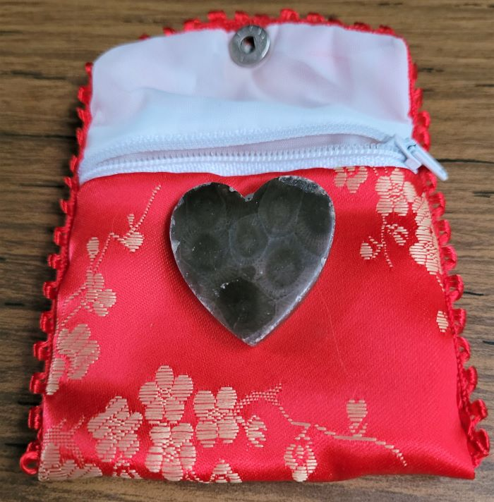 resized petoskey heart on red bag 100421